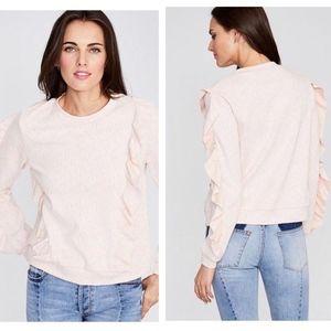 Rachel Roy Ruffled Sweatshirt-Blush